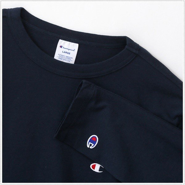 チャンピオン  左胸Cロゴ刺繍 ロングスリーブTシャツ  C3-J424|centas|06