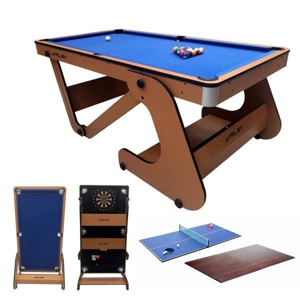 Riley 6フィート 自立式ポケットテーブル ビリヤード台 RFPT-6(ソフトチップ ダーツボード、テーブルトップ/卓球台付き)