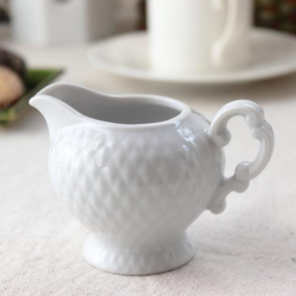 ダイヤカット ミルクピッチャー 110ml 日本製 美濃焼 入れ物 ミルク入れ フレッシュ ドレッシング ソース ケース 食器 陶器 磁器 陶磁器