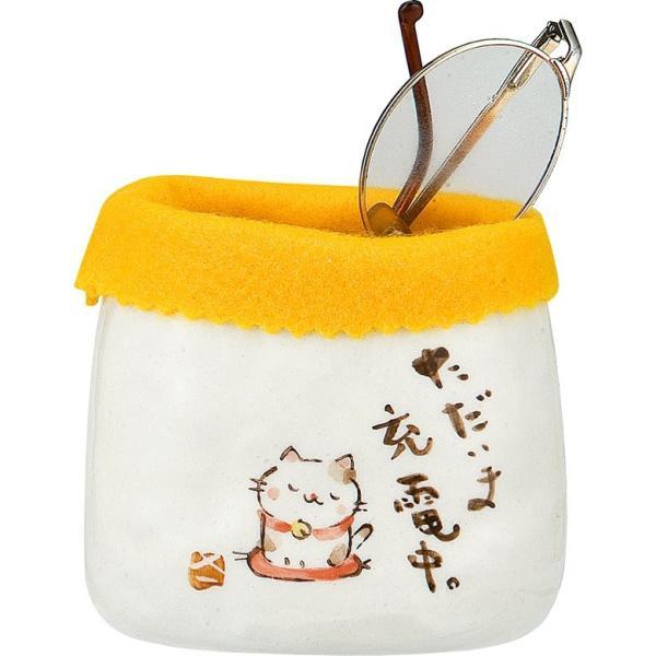 ふんわりメガネケース 猫 K1284 お取り寄せ 眼鏡ケース メガネ 立て ペン立て 陶器製 オシャレ カワイイ おしゃれ オシャレ インテリア
