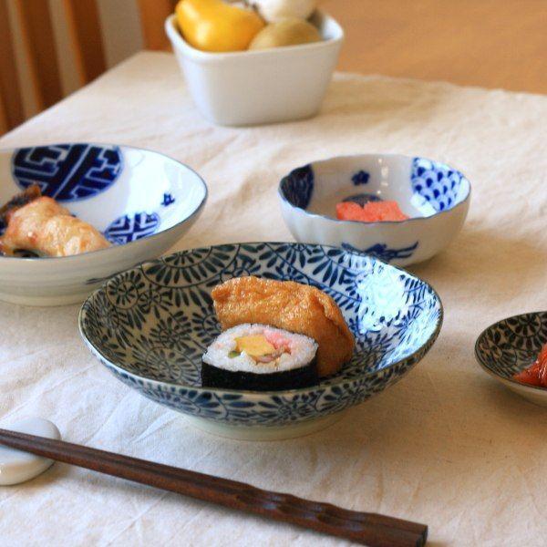 藍染タコ唐草 5.5寸浅鉢 国産 美濃焼 古来からある伝統の柄 煮物鉢 中鉢 刺し身皿 和食 和食器