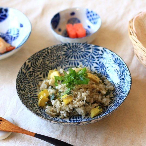 藍染タコ唐草 6.8寸深皿 国産 美濃焼 古来からある伝統の柄 パスタ鉢 中鉢 カレー皿 マルチボウル 和食器