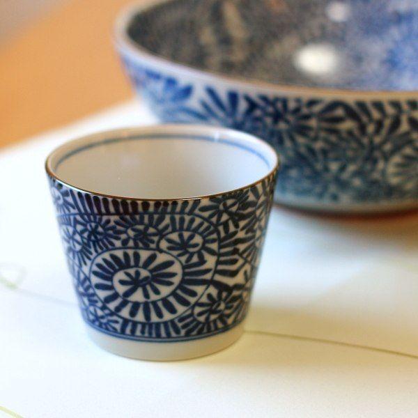藍染タコ唐草 そば猪口 国産 美濃焼 古来からある伝統の柄 そばちょこ 蕎麦 カップ マルチカップ 和食器