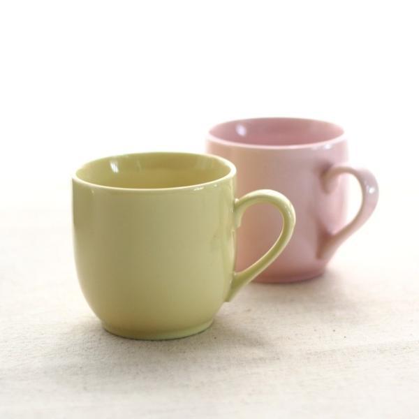 マグカップ ポッピー 260cc 国産 美濃焼 洋食器 カフェ ピンク イエロー 黄色 食器 器 皿 陶器 磁器 シンプル おしゃれ オシャレ