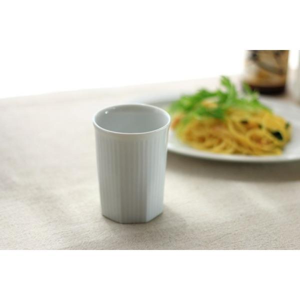 カップ ストライプ 縦じまフリーカップ 200cc 洋食器 カフェ 白い食器 ポーセリンアート 食器 陶器 ぐい呑 タンブラー湯飲み 国産 美濃焼|cerapockke|02