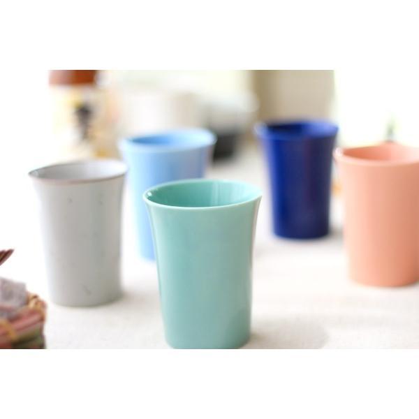 カップ 6カラーから選べるフリーカップ 洋食器 食器 陶器 磁器 シンプル オシャレ かわいい コップ 湯のみ 細い 持ちやすい ぐい呑 国産 美濃焼|cerapockke|03