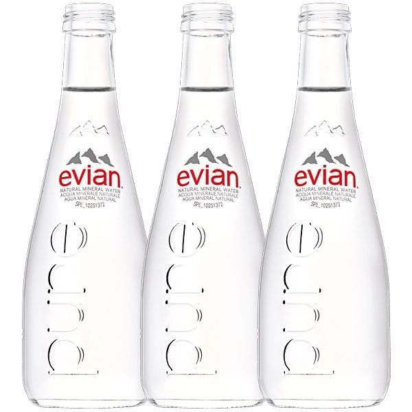 ≪エビアン≫グラスボトル330ml×3本[常温]【3〜4営業日以内に発送】