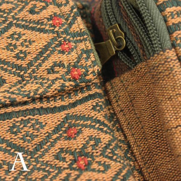 ナガ族 ウエストポーチ ウエストバッグ 手織り布 古布 エスニック アジアン