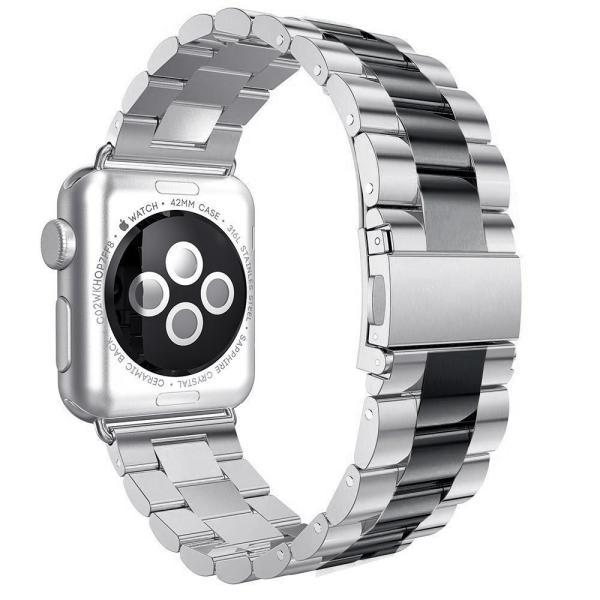 Apple Watchバンド42?mmステンレススチールリストバンドメタルバックル留めのiWatch交換ストラップブレスレットApple W