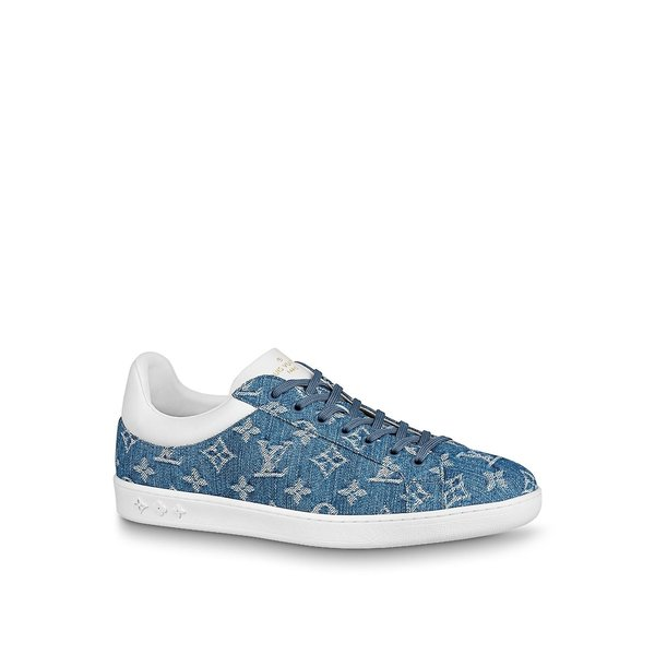 ルイヴィトン LOUIS VUITTON スニーカー シューズ 靴 ホワイト デニム ブルー モノグラム