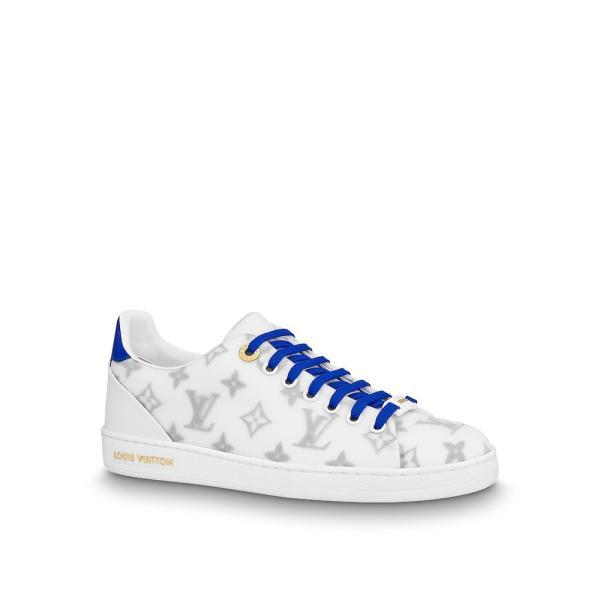 ルイヴィトン LOUIS VUITTON スニーカー シューズ 靴 ブルー ホワイト モノグラム ゴールド