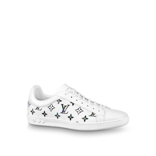 ルイヴィトン LOUIS VUITTON スニーカー シューズ 靴 ホワイト モノグラム レザー イリデセント キャンバス グラデーション レインボー
