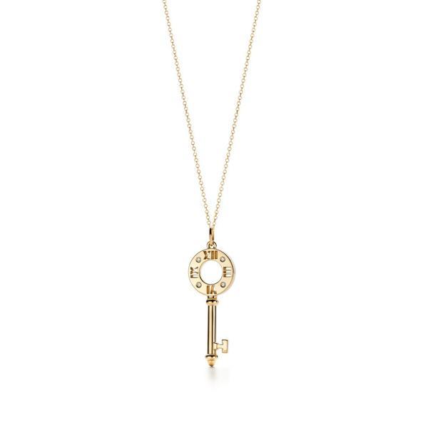 ティファニー TIFFANY ネックレス ゴールド 18K ダイヤモンド 鍵 キー ローマ数字 チェーン77cm