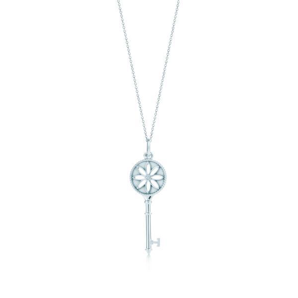 ティファニー TIFFANY ネックレス スターリングシルバー ダイヤモンド フラワー キー チェーン51cm