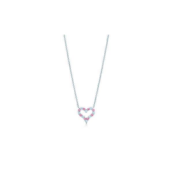 ティファニー TIFFANY ネックレス プラチナ ピンクサファイヤ ダイヤモンド ハート ミニ チェーン 41cm