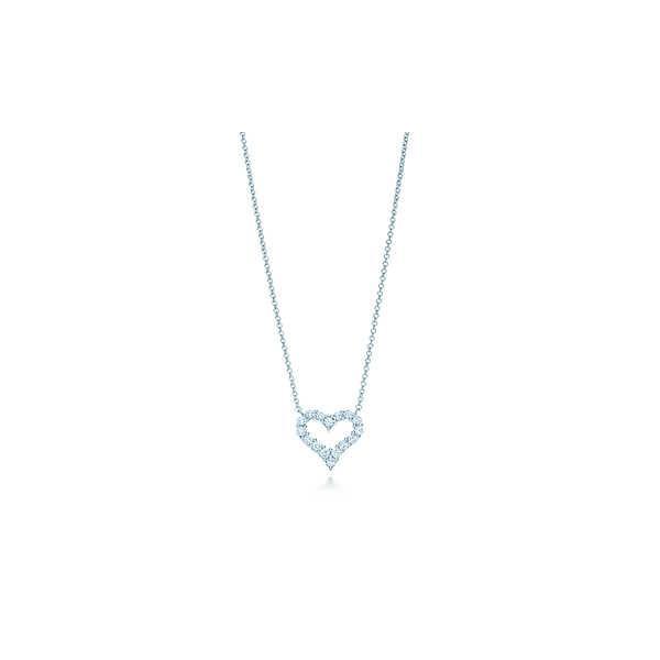 ティファニー TIFFANY ネックレス プラチナ ダイヤモンド ハート ミニ チェーン 41cm