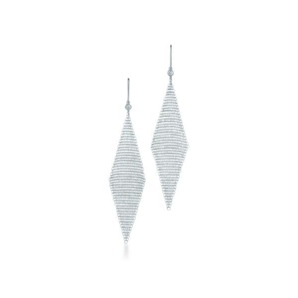 ティファニー TIFFANY ピアス スターリングシルバー ダイヤモンド メッシュ スモール 7.5cm