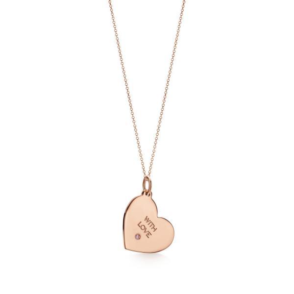 ティファニー TIFFANY ネックレス ローズゴールド 18K ピンク ダイヤモンド ハート チェーン46cm