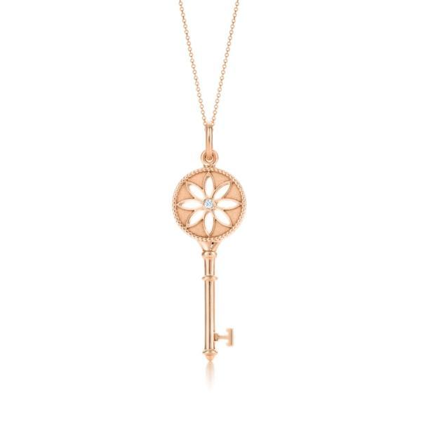 ティファニー TIFFANY ネックレス ローズゴールド 18K ダイヤモンド フラワー キー チェーン77cm