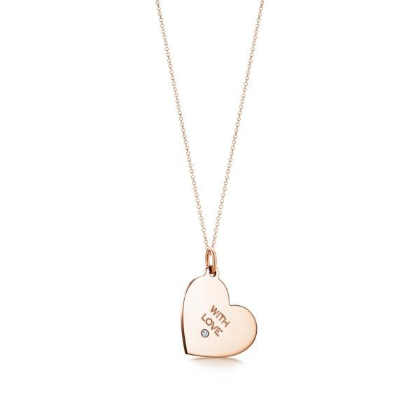 ティファニー TIFFANY ネックレス ローズゴールド 18K ダイヤモンド ハート ロゴ With Love チェーン77cm