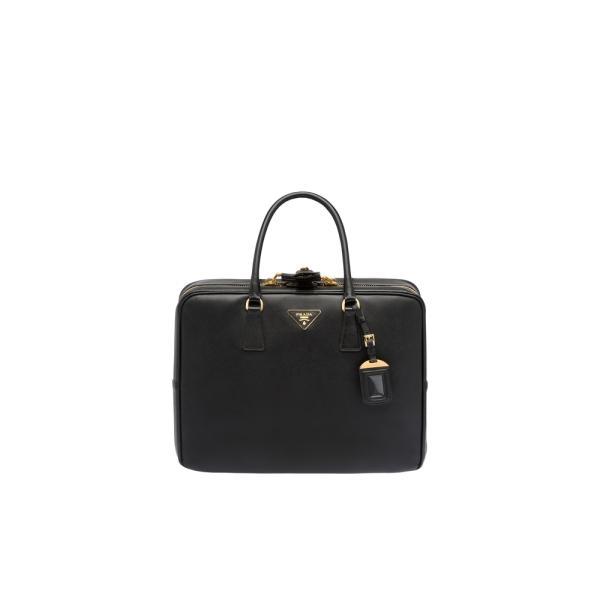 プラダ PRADA バッグ バック スーツケース ブラック ゴールド カーフレザー