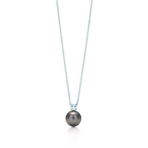 ティファニー TIFFANY ネックレス ホワイトゴールド 18K  タヒチアン パール ダイヤモンド