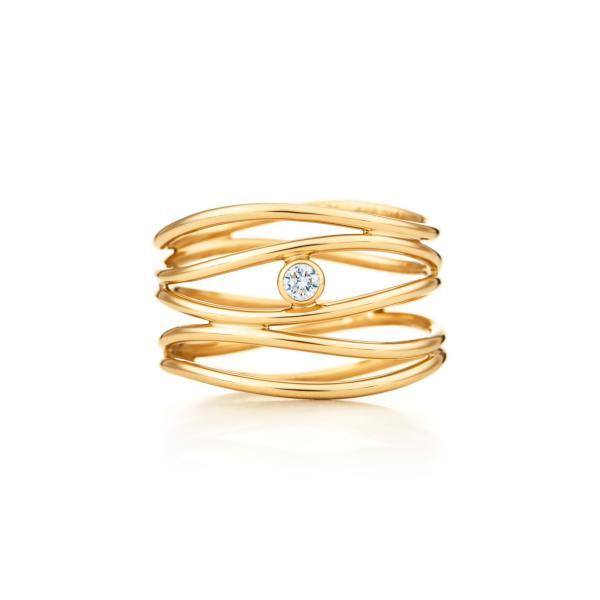 ティファニー TIFFANY 指輪 リング ゴールド 18K ダイヤモンド ウェーブ
