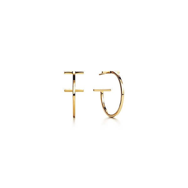 ティファニー TIFFANY ピアス ゴールド 18K フープ Tモチーフ