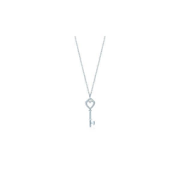 ティファニー TIFFANY ネックレス ホワイトゴールド 18K ダイヤモンド ハート キー チェーン46cm