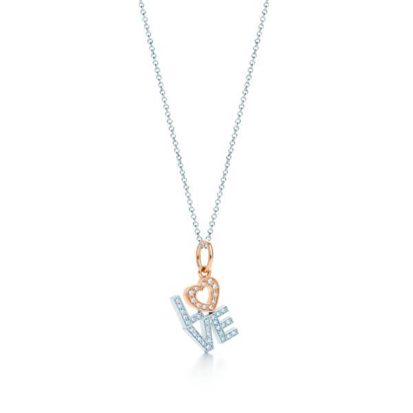 ティファニー TIFFANY ネックレス ホワイト ローズゴールド 18K ダイヤモンド LOVE ハート チェーン46cm
