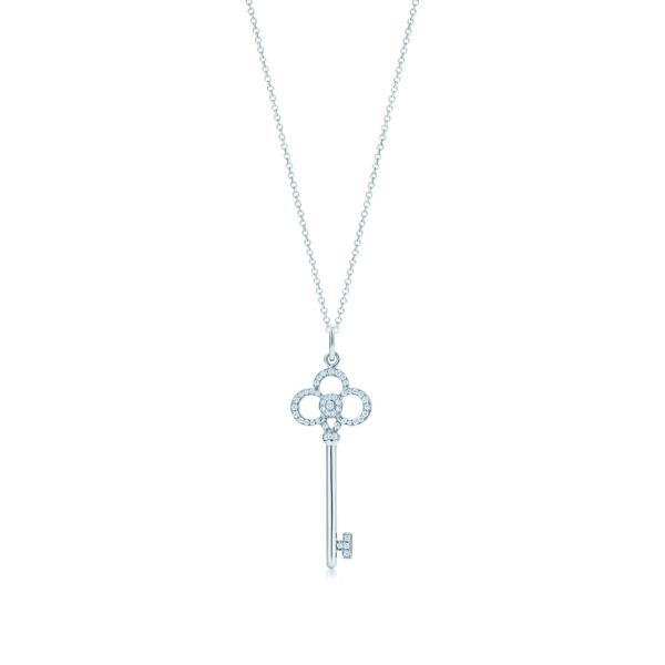 ティファニー TIFFANY ネックレス ホワイトゴールド 18K ダイヤモンド クラウン キー チェーン61cm
