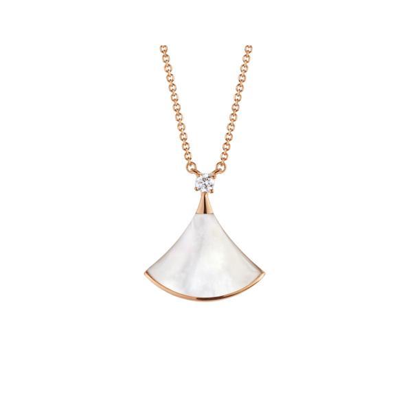 ブルガリ BVLGARI ネックレス ピンクゴールド 18K ダイヤモンド マザーオブパール ホワイト