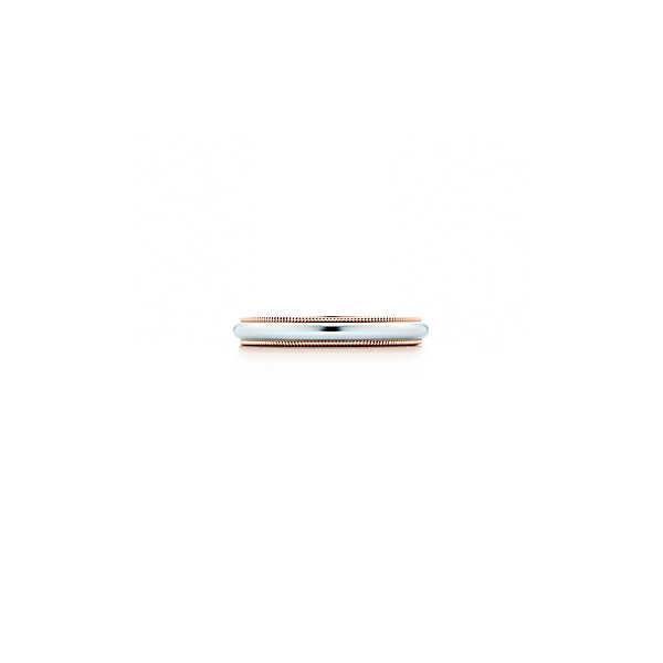 ティファニー TIFFANY 指輪 リング プラチナ ローズゴールド 18K ミルグレイン