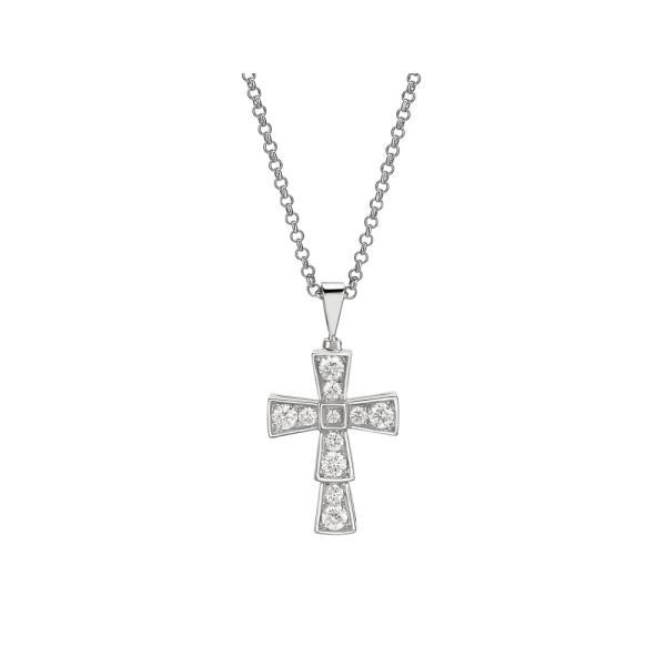 ブルガリ BVLGARI ネックレス ホワイトゴールド 18K ダイヤモンド クロス