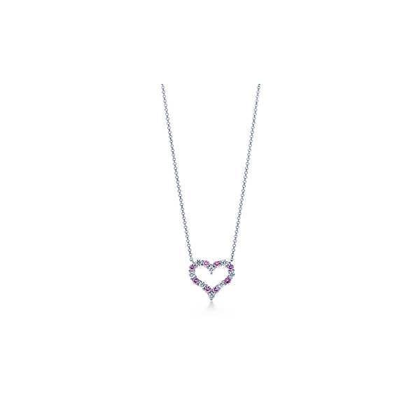 ティファニー TIFFANY ネックレス プラチナ ピンクサファイヤ ダイヤモンド ハート スモール チェーン 41cm
