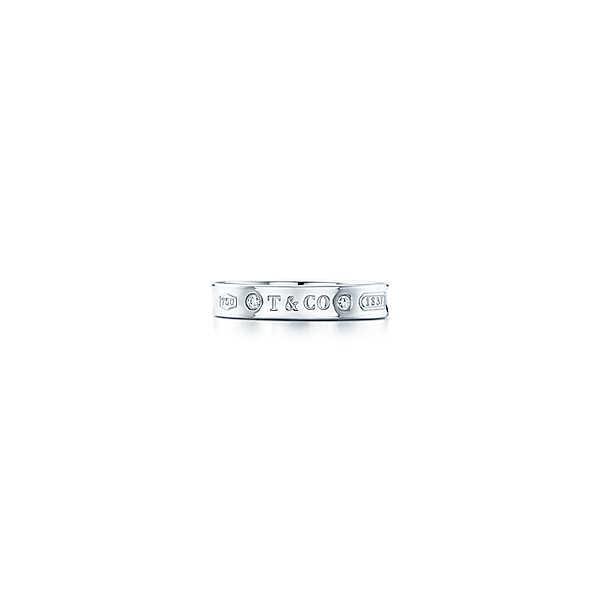 ティファニー TIFFANY 指輪 リング ホワイトゴールド 18K ダイヤモンド ロゴ