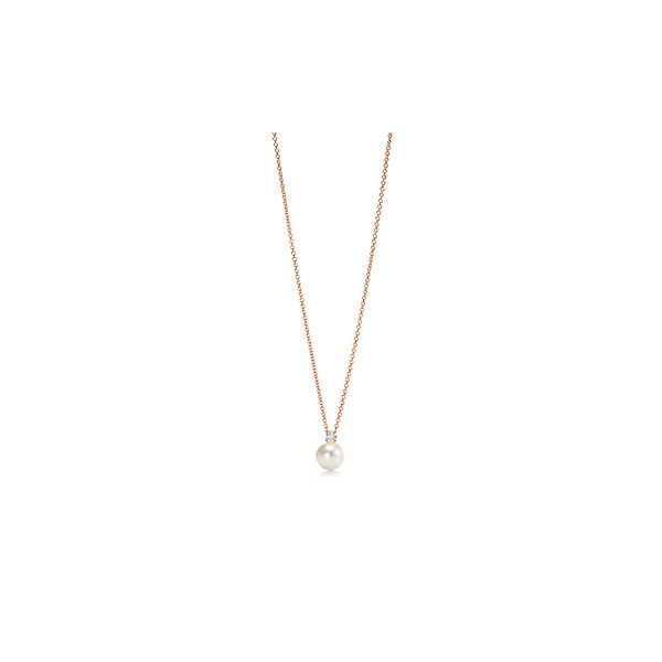 ティファニー TIFFANY ネックレス ローズゴールド 18K パール ダイヤモンド チェーン 41cm