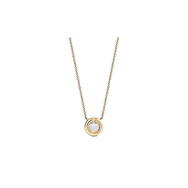 ティファニー TIFFANY ネックレス ゴールド 18K マザーオブパール ダイヤモンド Tモチーフ ラウンド スモール チェーン 41~46cm