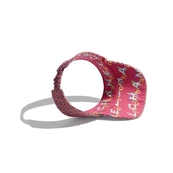 シャネル CHANEL 帽子 ハット バイザー ピンク オレンジ ブルー ツイード ミックス ファイバー