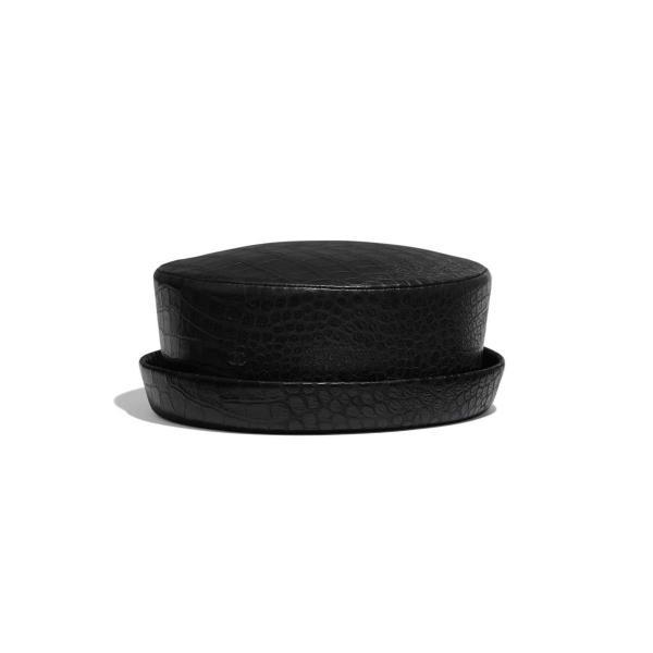 シャネル CHANEL 帽子 ハット ブラック クロコダイル レザー