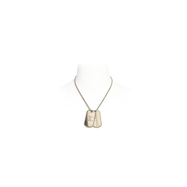 シャネル CHANEL ネックレス ゴールド クリスタル CCロゴ タグ メタル ストラス
