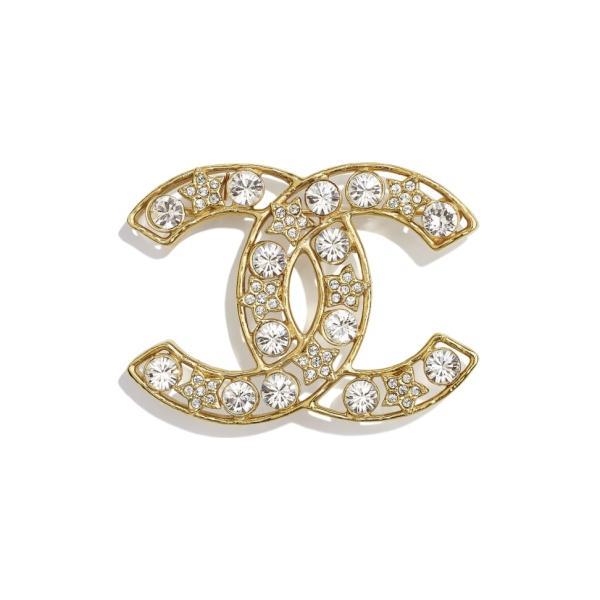 シャネル CHANEL ブローチ ゴールド クリスタル メタル ストラス CCロゴ