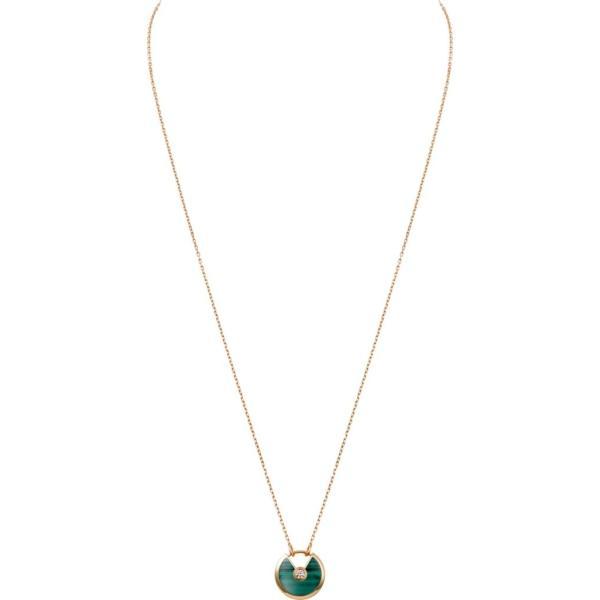 カルティエ CARTIER ネックレス ピンクゴールド 18K マラカイト ダイヤモンド SM