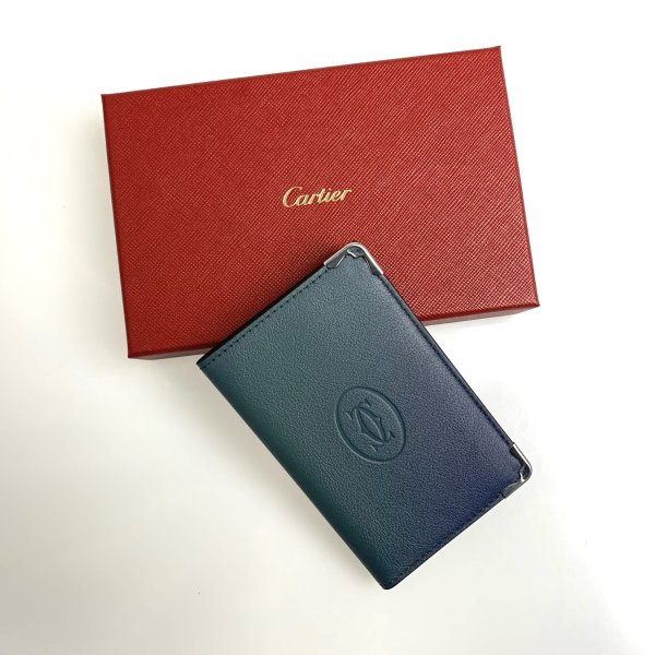 カルティエ CARTIER カードケース 名刺入れ パスケース グラデーションブルー ブルー シルバー レザー
