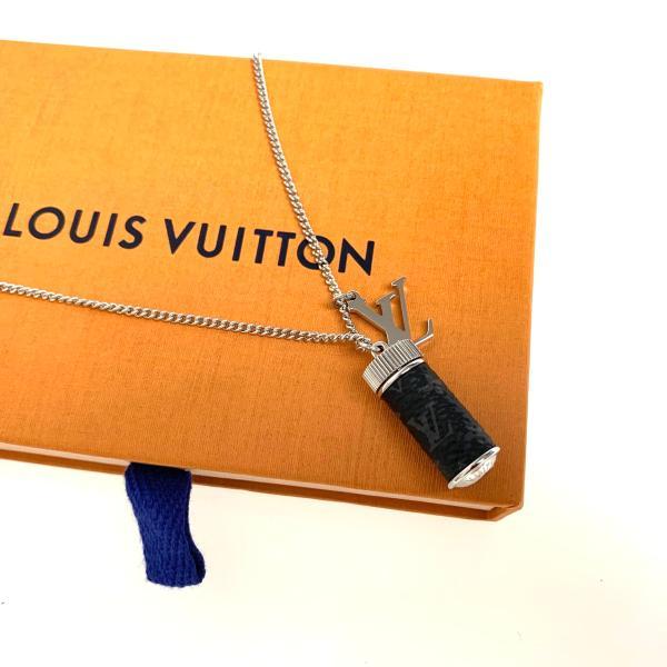 ルイヴィトン LOUIS VUITTON ネックレス シルバー モノグラム エクリプス キャンバス LVロゴ モチーフ