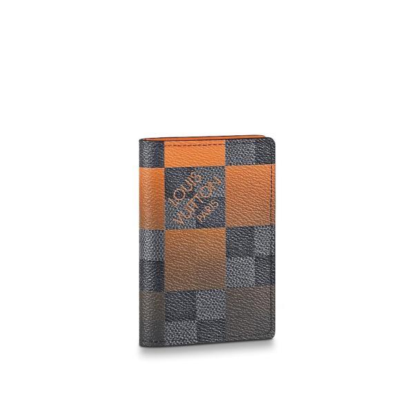 ルイヴィトン LOUIS VUITTON カードケース 名刺入れ パスケース ダミエ グラフィット ブラック グレー ボルケーノ オレンジ ジャイアント
