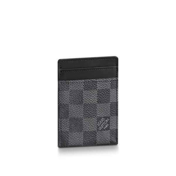 ルイヴィトン LOUIS VUITTON カードケース 名刺入れ パスケース クリップ ダミエ グラフィット ブラック グレー