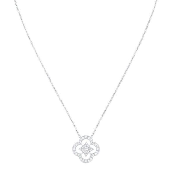 ルイヴィトン LOUIS VUITTON ネックレス 18K ホワイトゴールド ダイヤモンド モノグラム フラワー