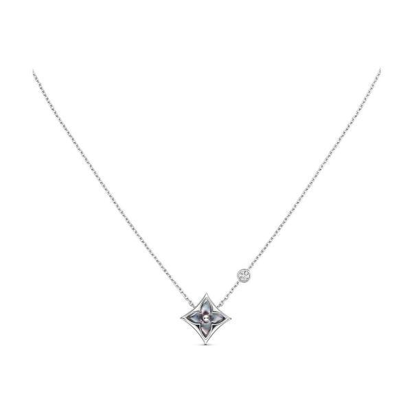 ルイヴィトン LOUIS VUITTON ネックレス 18K ホワイトゴールド マザーオブパール モノグラム フラワー グレー ダイヤモンド