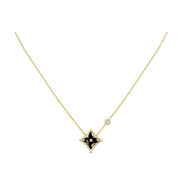 ルイヴィトン LOUIS VUITTON ネックレス 18K イエローゴールド オニキス ブラック ダイヤモンド モノグラム フラワー